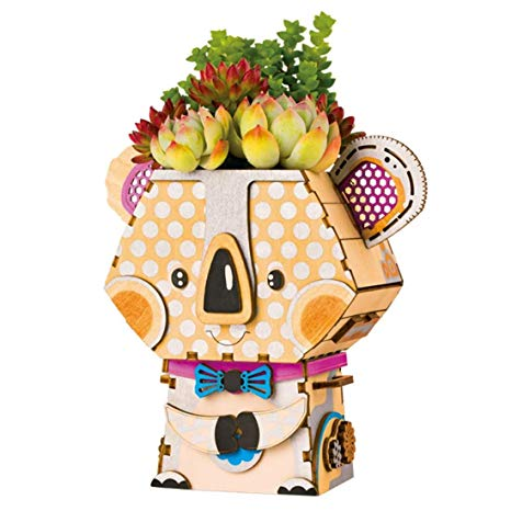 Amazon.com: Unique Robotime Cartoon Cute Robot Flower Pot.