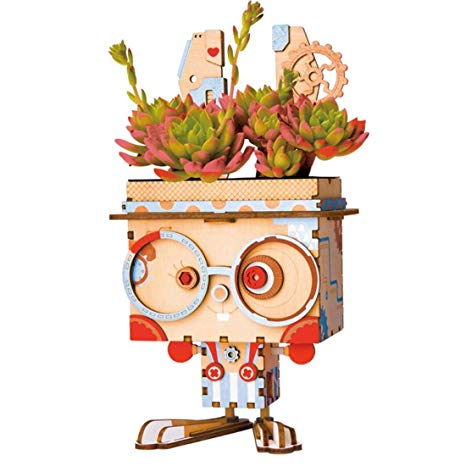Amazon.com: Robotime Cartoon Cute Robot Flower Pot 3D Wooden.