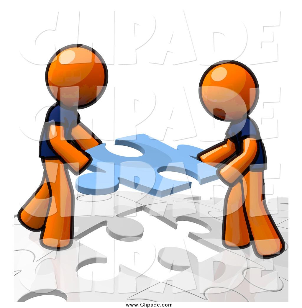 Clip Art of Orange Men Assembling a Puzzle Together by Leo.