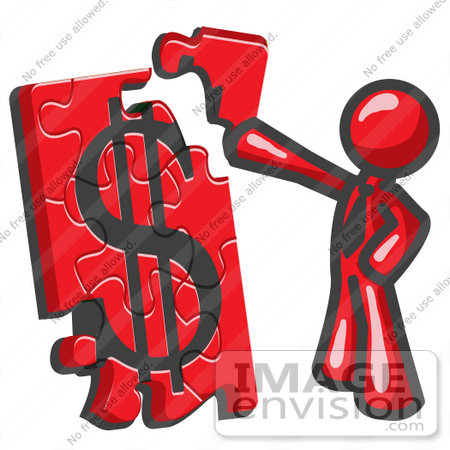 Clip Art Graphic of a Red Guy Character Assembling a Financial.