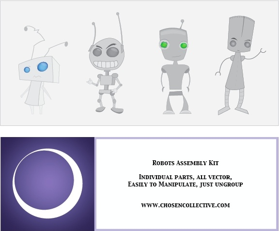 Robot Vector Assembly Kit Free vector in Adobe Illustrator ai.