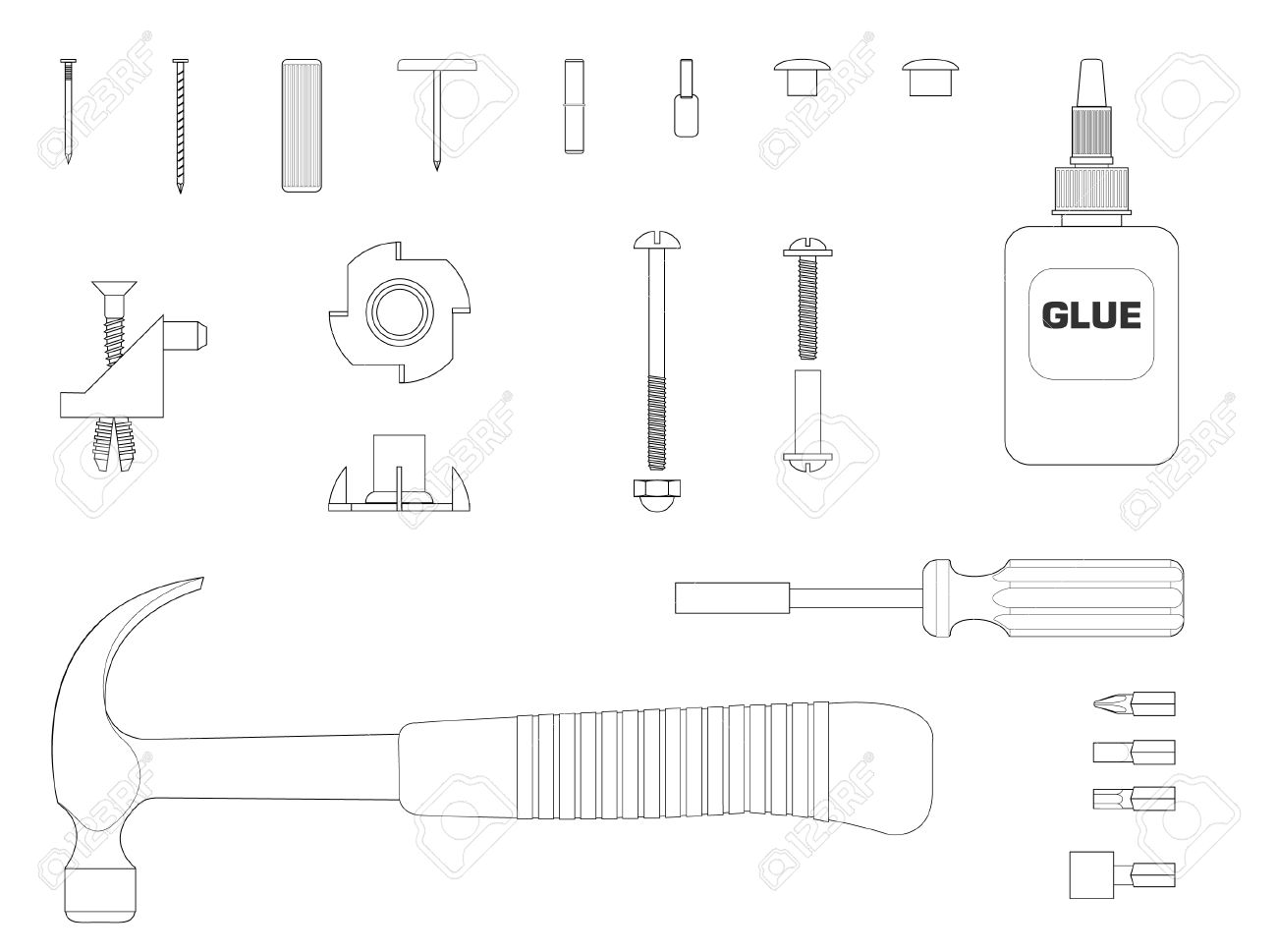 Black And White Line Illustration Of Furniture Assembly Kit.