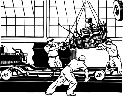 Assembly line car clipart.