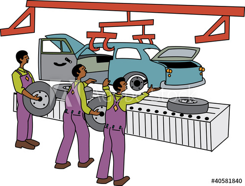 Black male workers on motor vehicle assembly line.