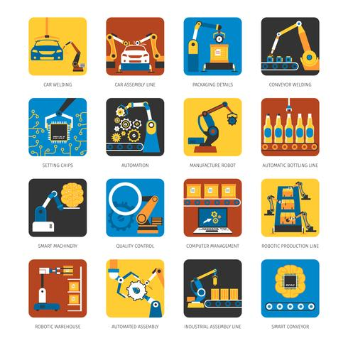 Industrial Assembly Line Flat Icons Set.
