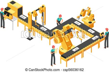 Automated production line, factory conveyor with workers and robotic arms  isometric industrial vector concept.