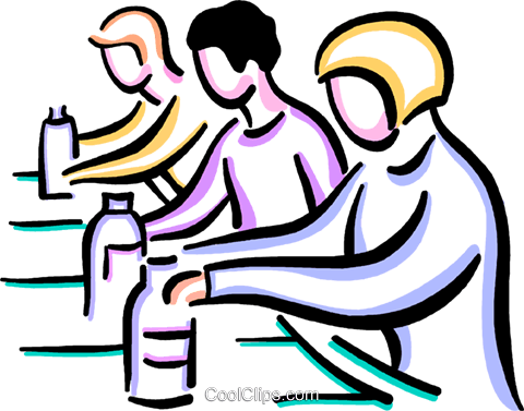 Workers on assembly line Royalty Free Vector Clip Art illustration.