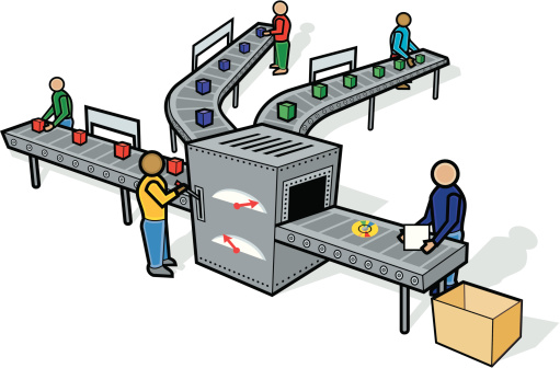 Assembly line clipart.