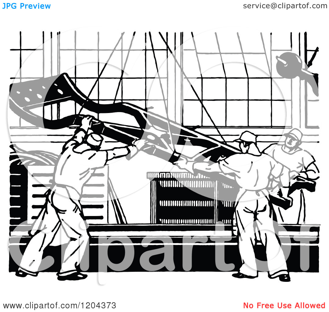 Clipart of a Vintage Black and White Automobile Assembly Line.