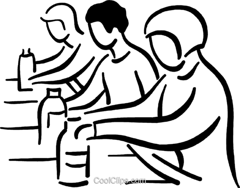 people working on the assembly line Royalty Free Vector Clip Art.