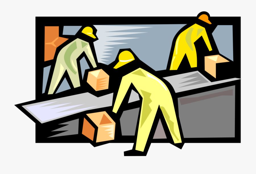 Vector Illustration Of Assembly Line Factory Workers.