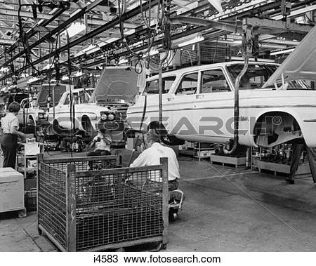 Stock Photo of 1960S Chrysler Assembly Line With Car Bodies.