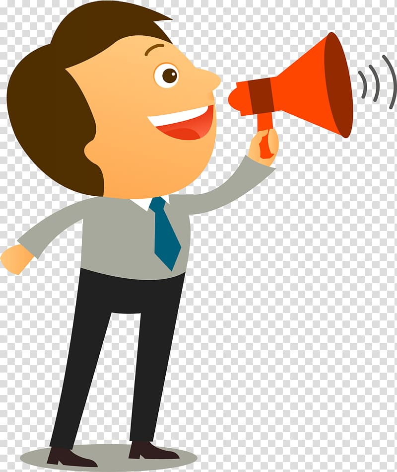 Man holding megaphone illustration, Assertiveness Communication.