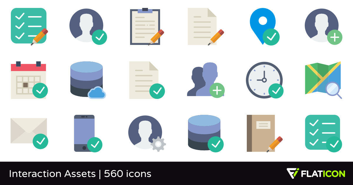 Interaction Assets 560 free icons (SVG, EPS, PSD, PNG files).