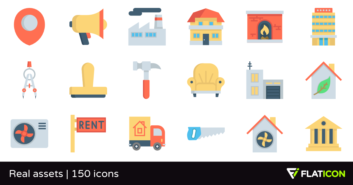 Real assets 150 free icons (SVG, EPS, PSD, PNG files).