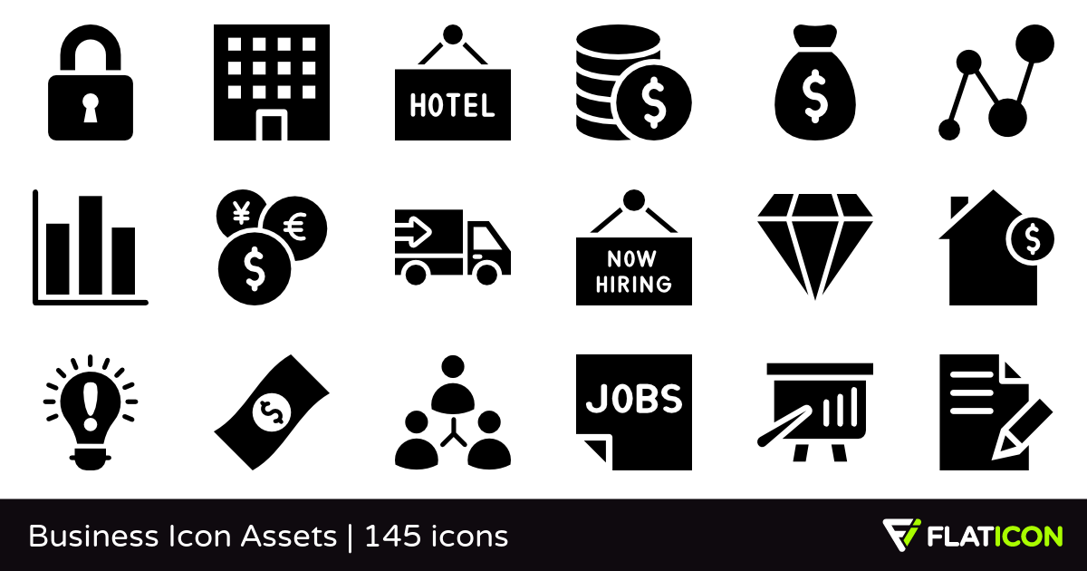 Business Icon Assets 145 free icons (SVG, EPS, PSD, PNG files).