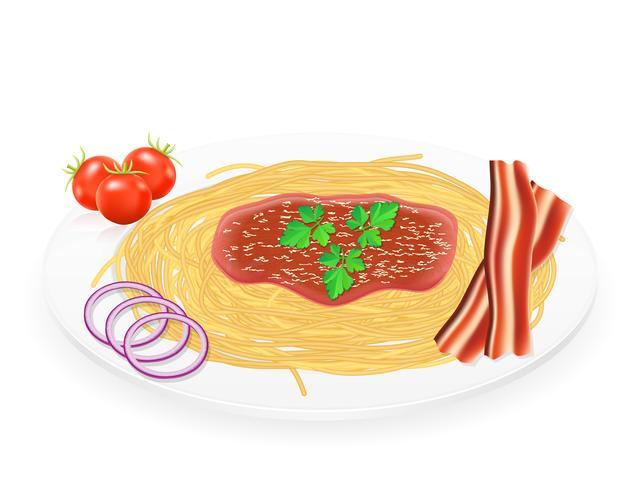 pâtes sur une assiette avec illustration vectorielle de.