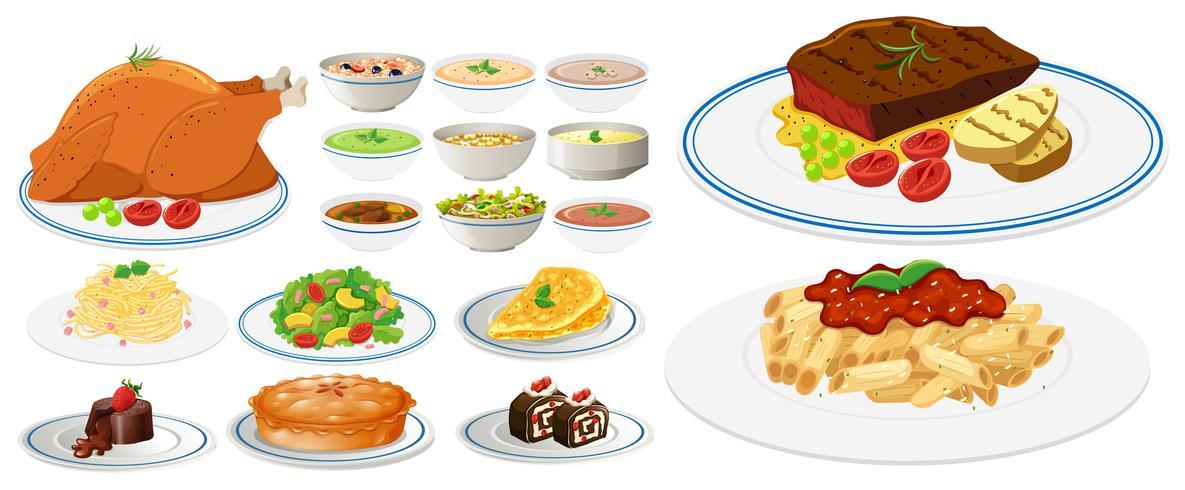 Différents types de nourriture sur des assiettes.