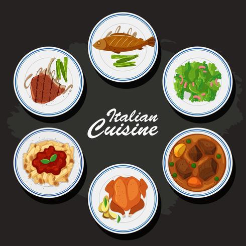Fond de cuisine italienne avec des plats différents dans les.