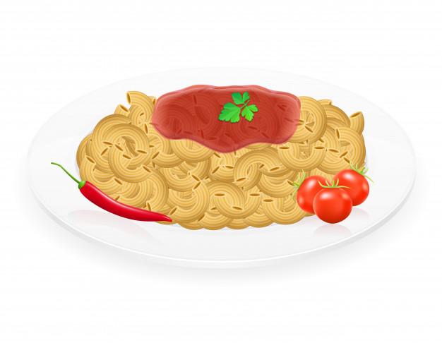 Pâtes sur une assiette avec des légumes vector illustration.