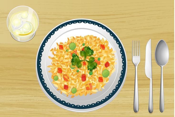 Un riz dans un plat.
