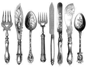 vintage cutlery clipart, cutlery engraving, fork knife spoon.