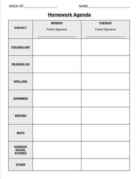 weekly homework calendar.