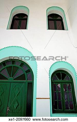 Stock Photography of School, windows, Assilah, Morocco xe1.