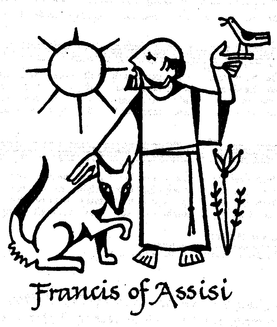 Clip Art Of St. Francis Blessing The Animals Clipart.
