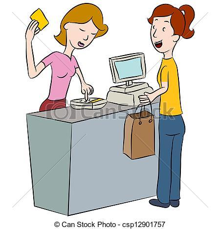 Shop assistant clipart.