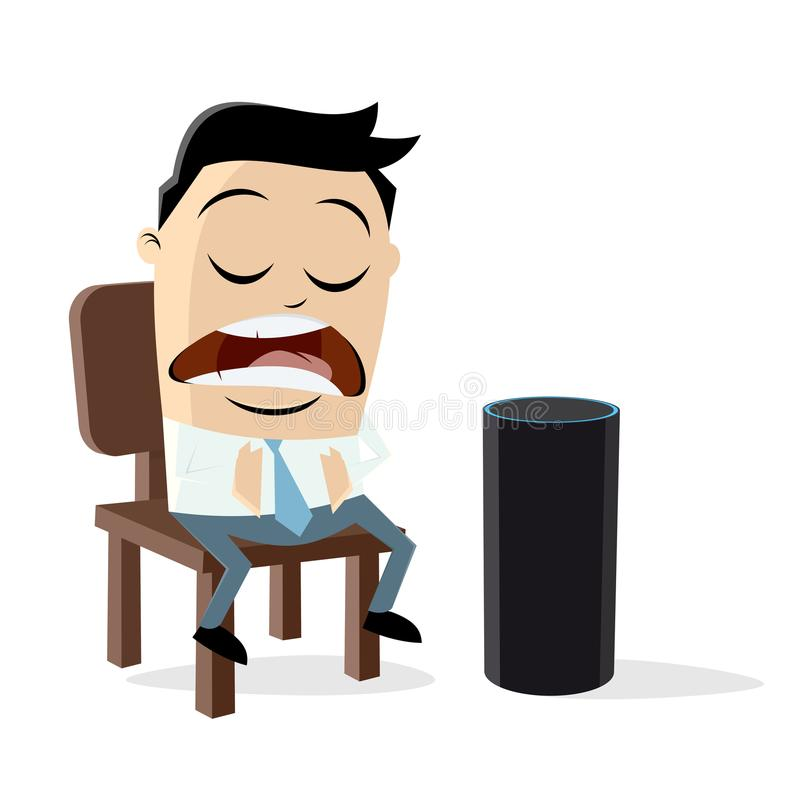 Funny Man Talking To A Digital Assistant Stock Vector.