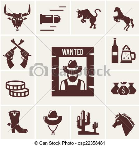 Vector of Wild West wanted poster and associated icons of crossed.