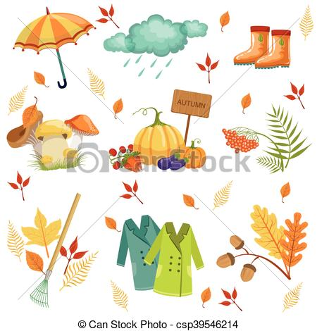 Vector Clip Art of Set Of Associated With Autumn Objects. Seasonal.