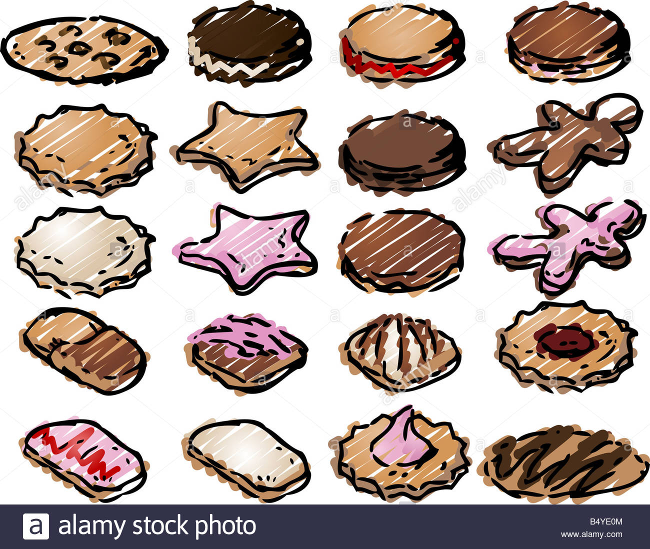 Assorted Fancy Decorated Cookie Biscuit Clipart Icon Illustration.