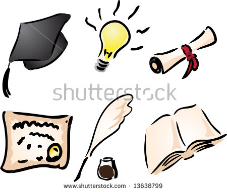 Education And Learning Icons Assorted Clipart Illustration.
