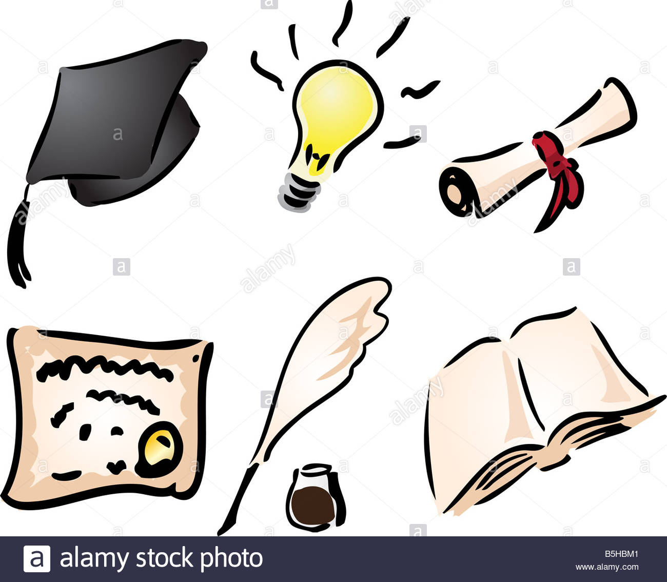 Education And Learning Icons Assorted Clipart Illustration Stock.