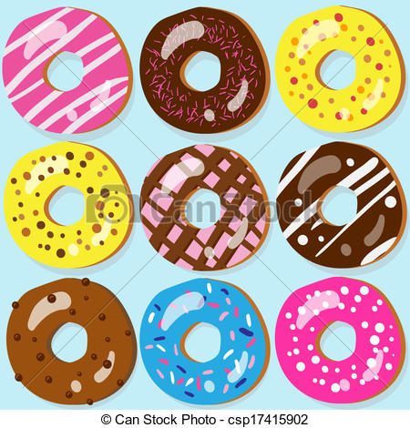 Vector Clipart of Set of 9 assorted doughnut icons with different.
