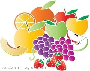 Clip Art of Assorted Fresh Fruits.