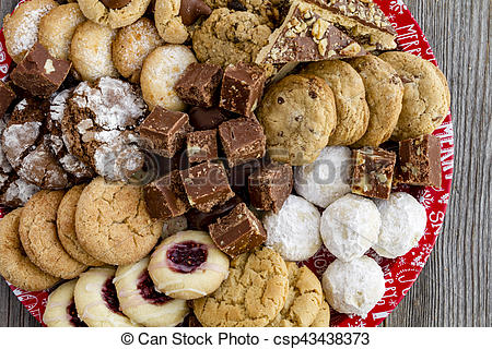 Holiday Cookie Gift Tray with Assorted Baked Goods.