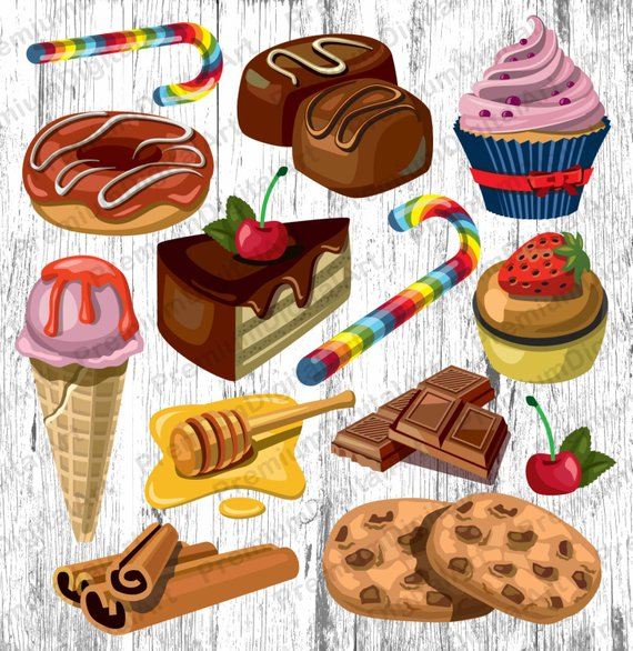 13 Bakery Sweets clipart,cupkake clip,candy clipart, fruits.