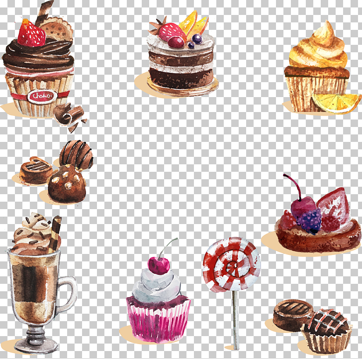 Watercolor painting Dessert Cupcake Candy, Hand.