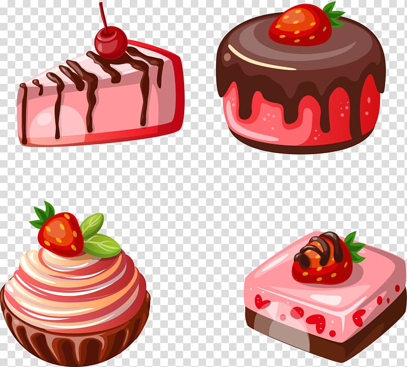 Four assorted desserts illustration, Petit four Waffle.