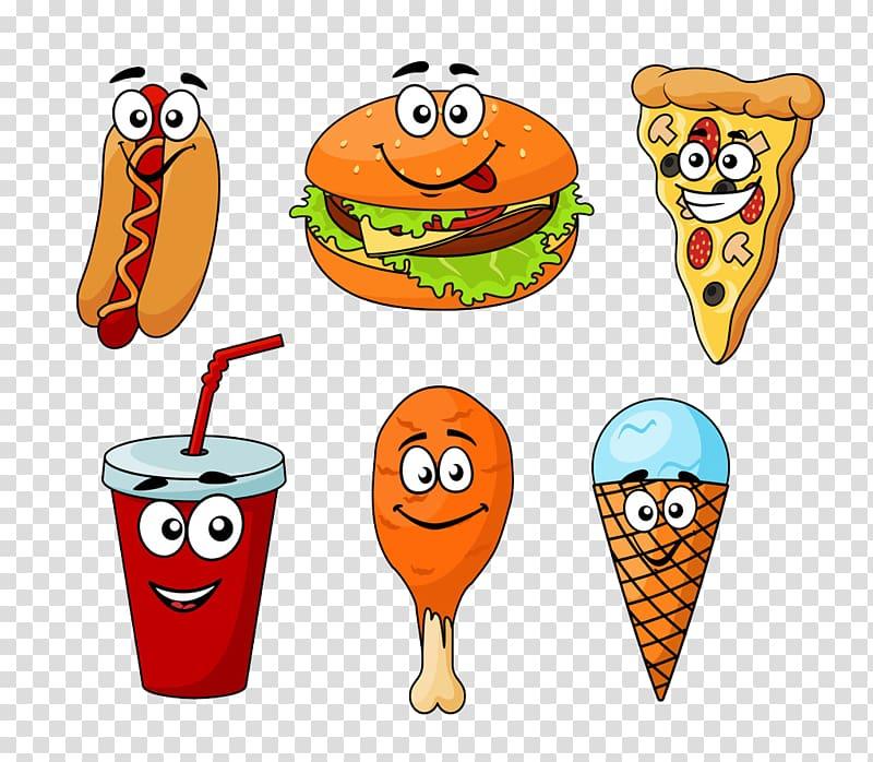 Six assorted foods illustration, Ice cream Fast food.