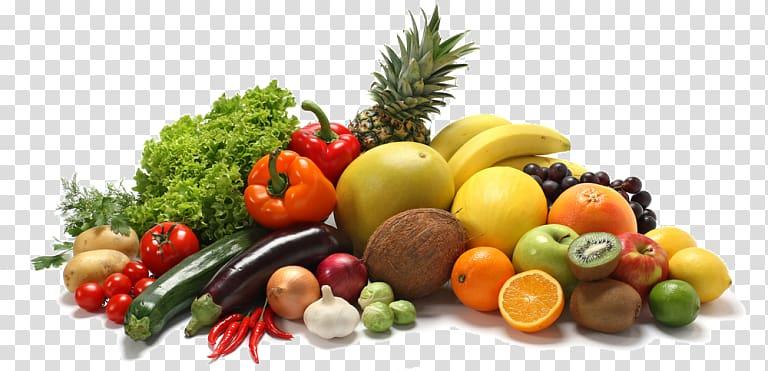 Assorted fruit lot, Junk food Fast food Health food Healthy.