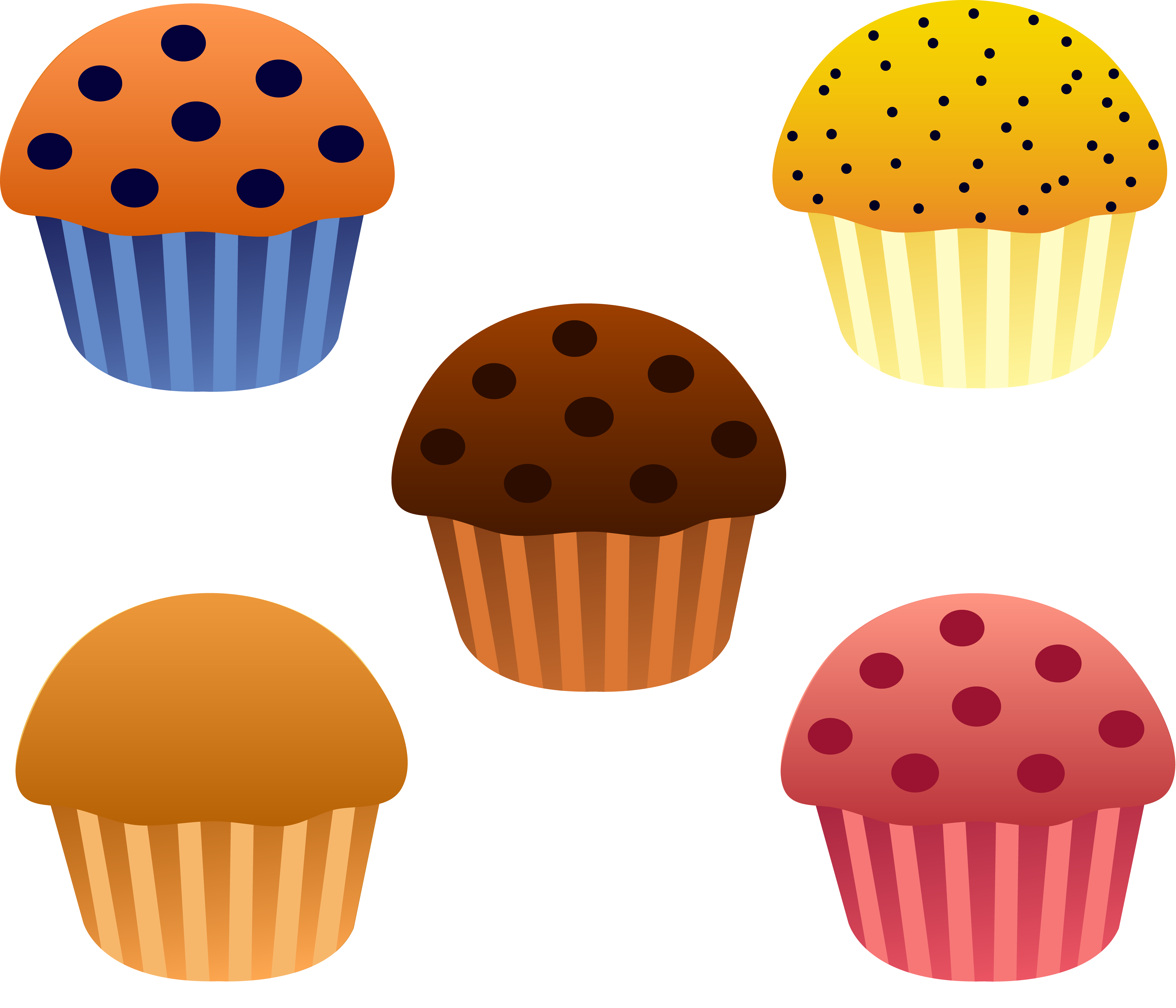 Set of Five Assorted Muffins.