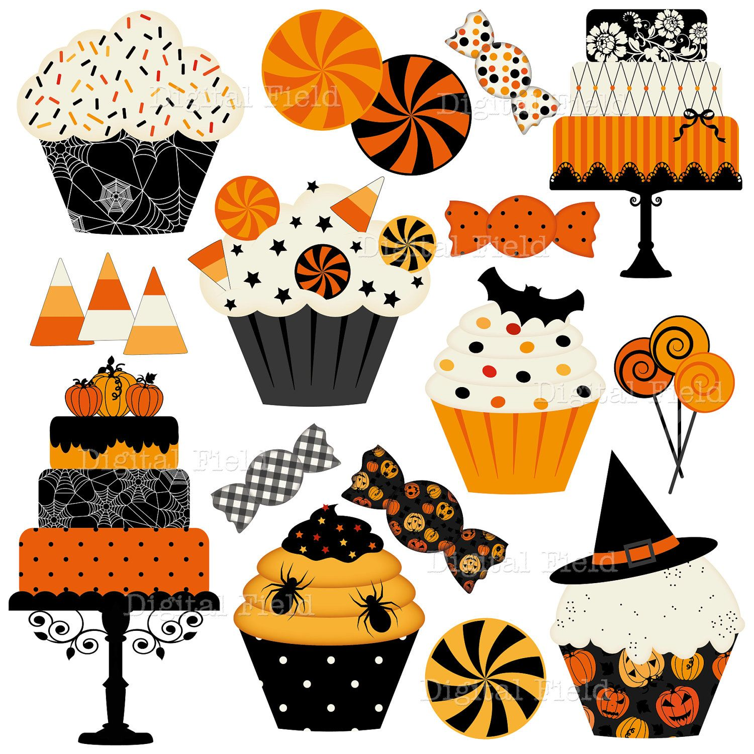 Halloween Cakes, Cupcakes and Candies Clip Art Set.