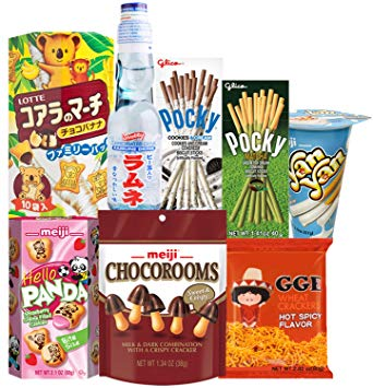 Japanese Snacks and Drink Care Package Snack Gift Box (8 Count).