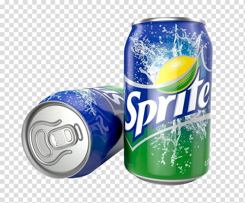 Two Sprite soda cans, Soft drink Sprite Coca.
