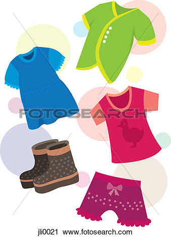 Clipart of A colorful assortment of childrens clothing jli0021.