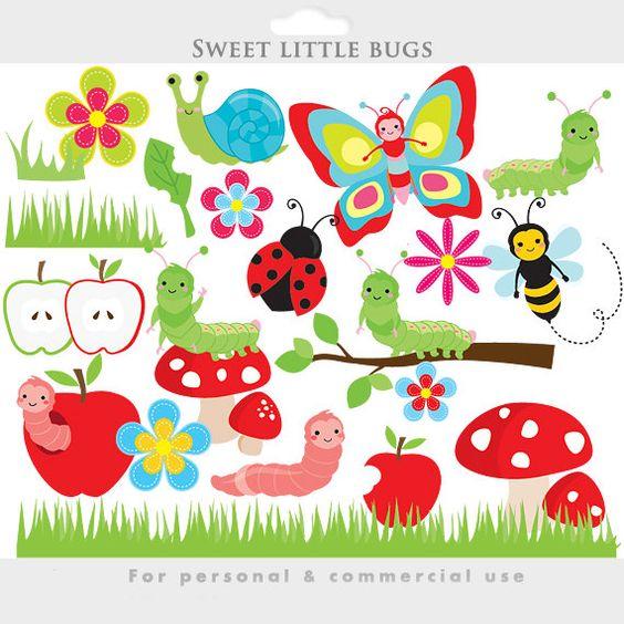 Cute bugs clipart.